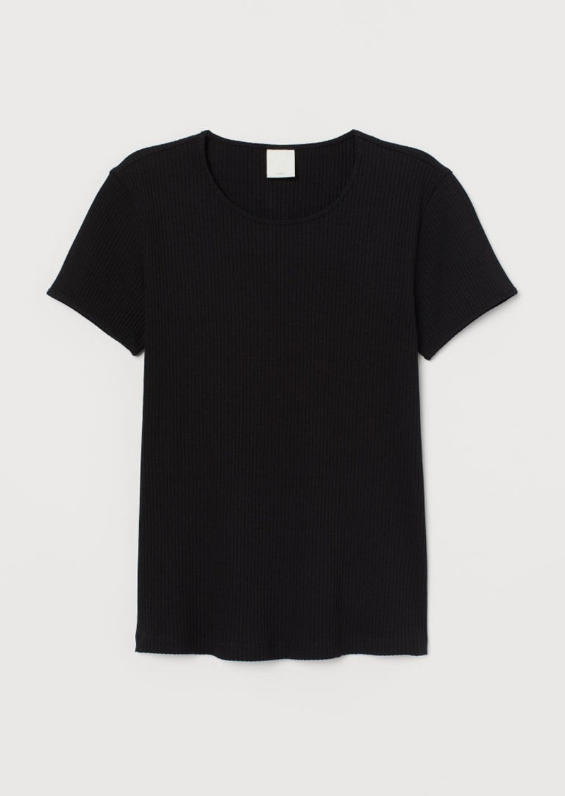 H&M H & M - Ribbed T-shirt - Black