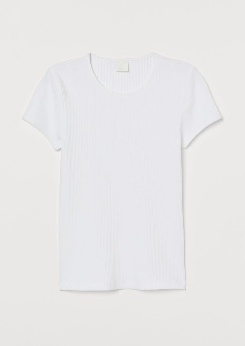 H&M H & M - Ribbed T-shirt - White