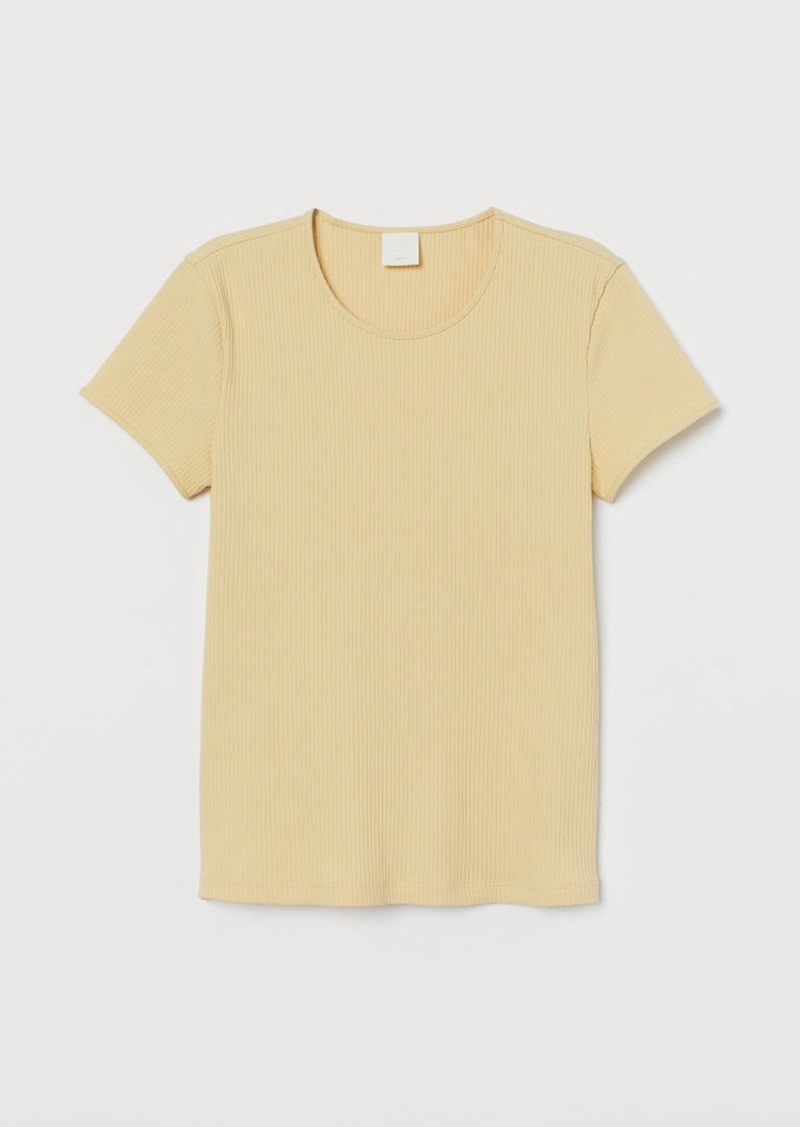 H&M H & M - Ribbed T-shirt - Yellow