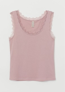 H&M H & M - Ribbed Tank Top with Lace - Pink