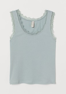 H&M H & M - Ribbed Tank Top with Lace - Turquoise