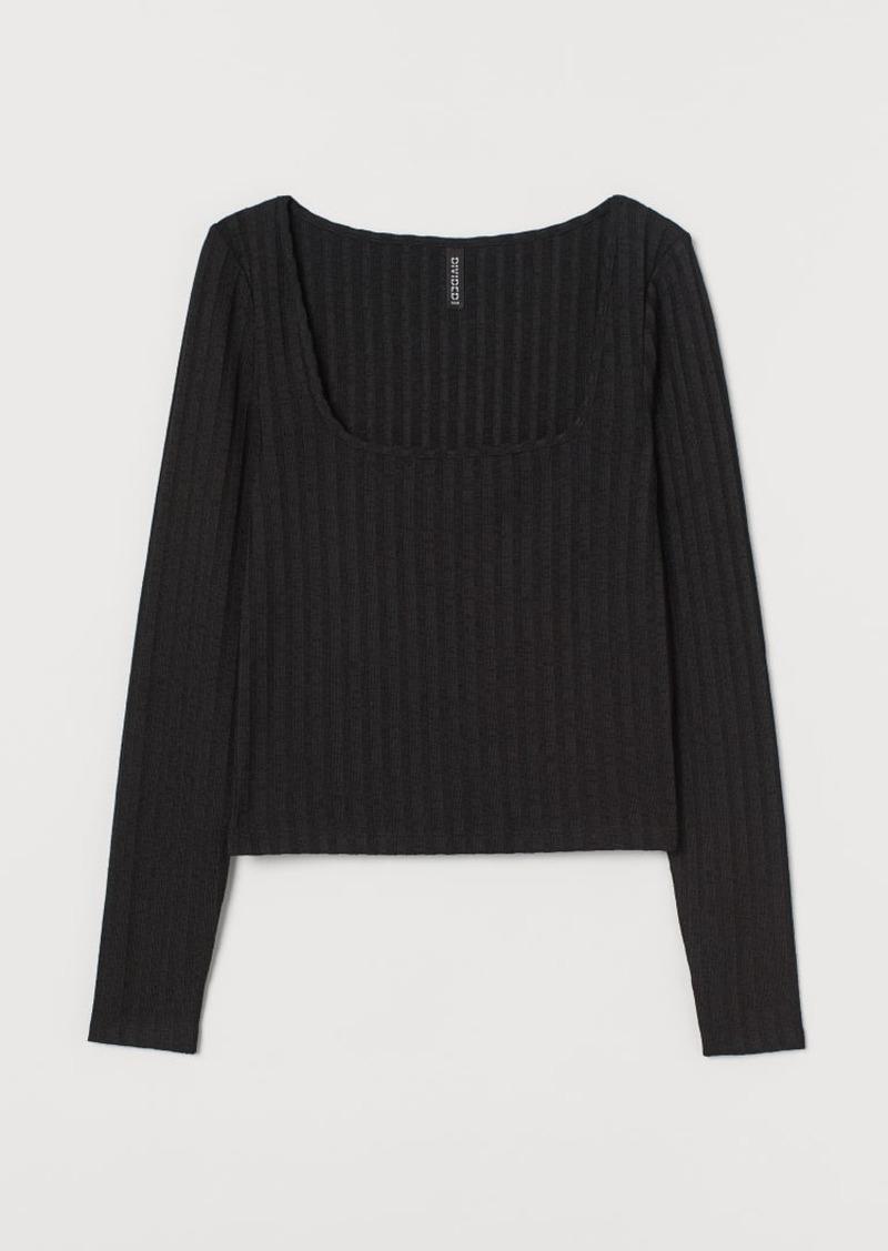 H&M H & M - Ribbed Top - Black