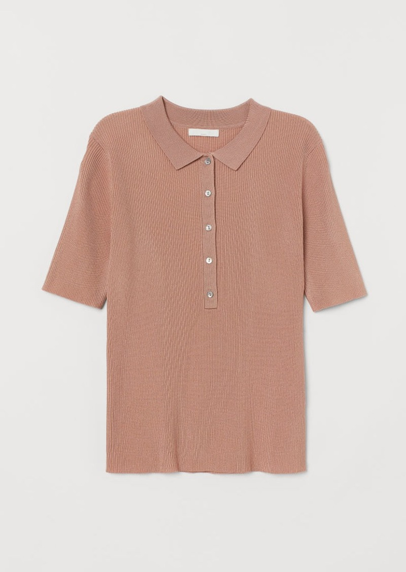 H&M H & M - Ribbed Top - Orange