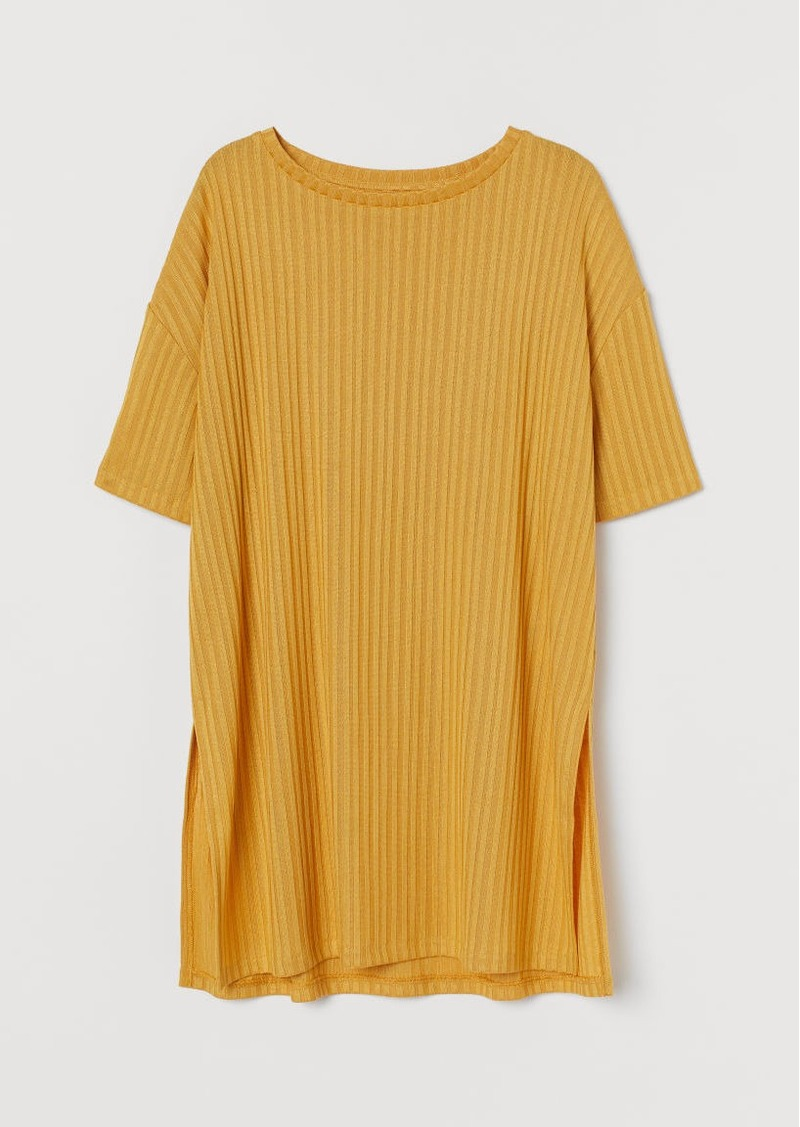 H&M H & M - Ribbed Top - Yellow