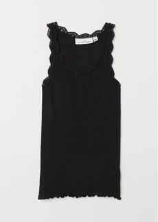 H&M H & M - Ribbed Top with Lace - Black