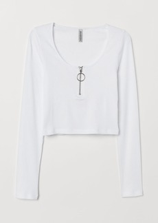 H&M H & M - Ribbed Top with Zip - White