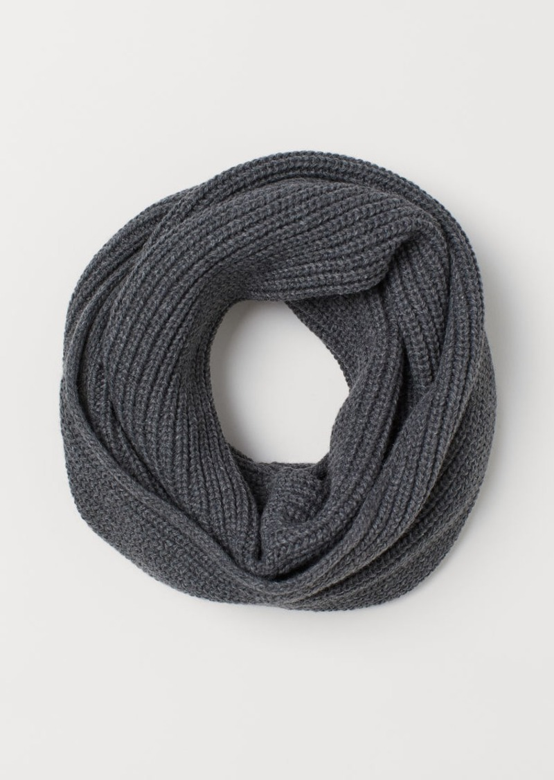 H&M H & M - Ribbed Tube Scarf - Gray
