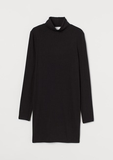 H&M H & M - Ribbed Turtleneck Dress - Black
