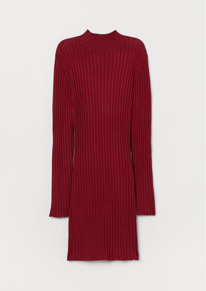 H&M H & M - Ribbed Turtleneck Dress - Red
