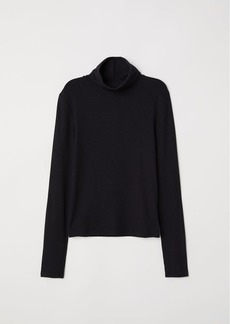 H&M H & M - Ribbed Turtleneck Top - Black
