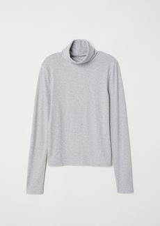 H&M H & M - Ribbed Turtleneck Top - Gray
