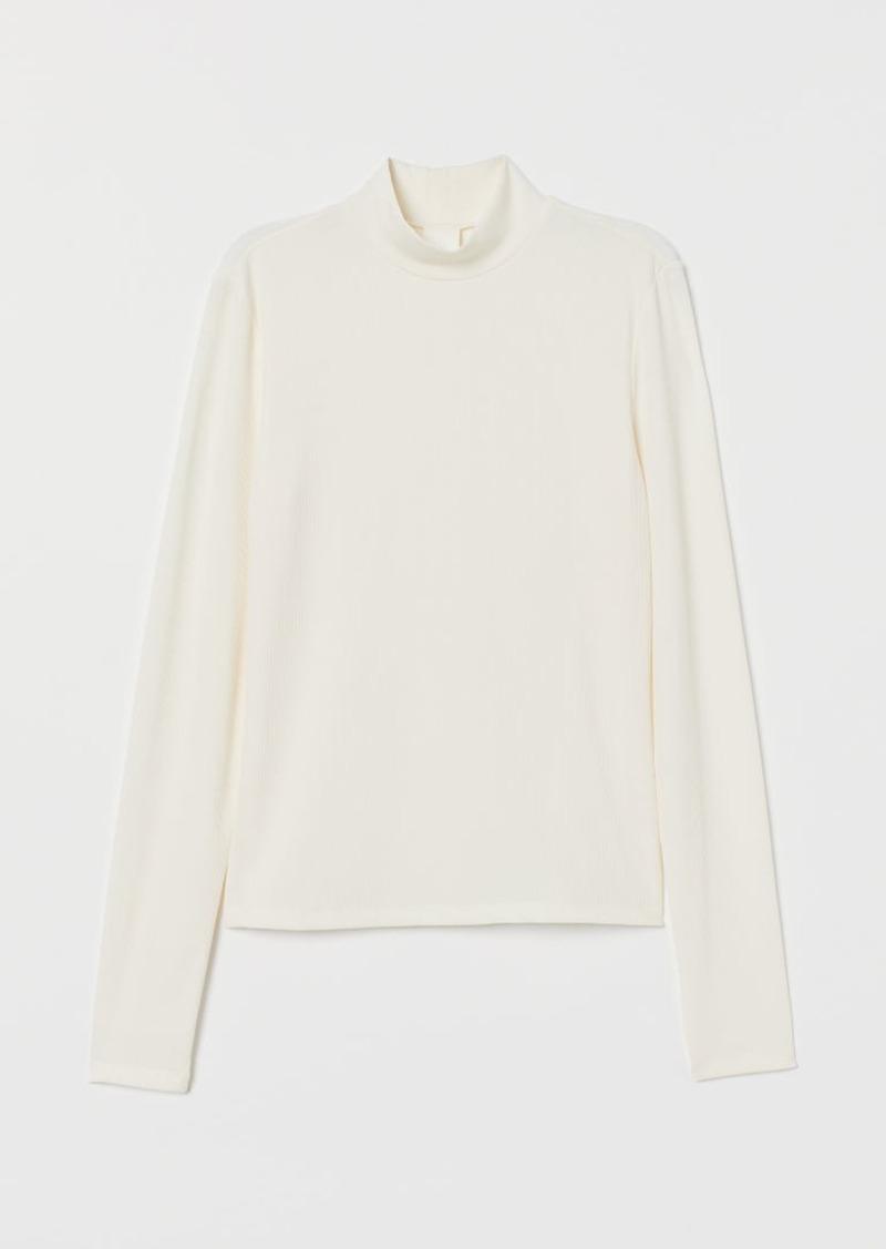 H&M H & M - Ribbed Turtleneck Top - White