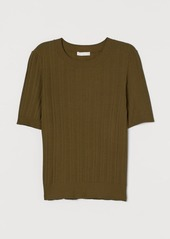 H&M H & M - Ribbed Viscose-blend Top - Green