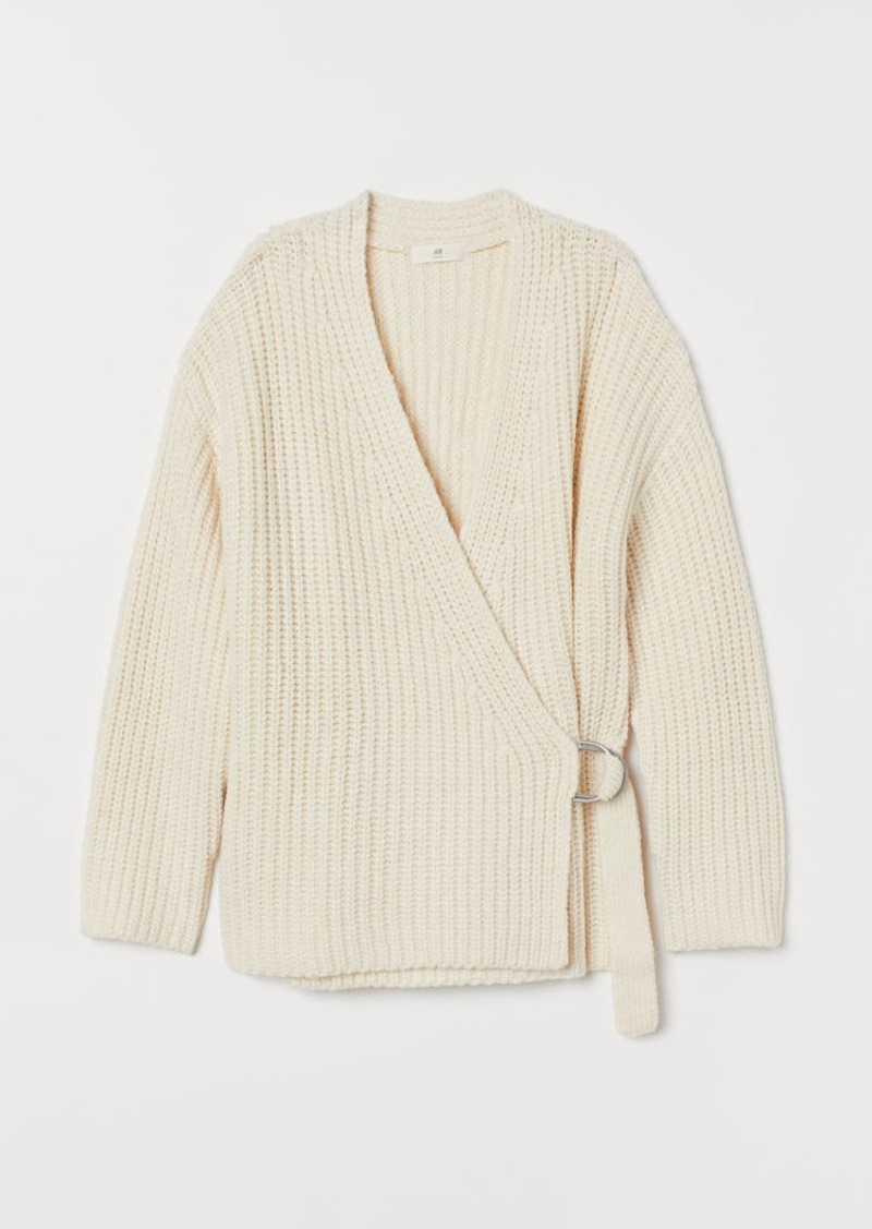 H&M H & M - Ribbed Wrap-front Cardigan - White