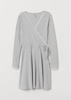 H&M H & M - Ribbed Wrap-front Dress - Gray