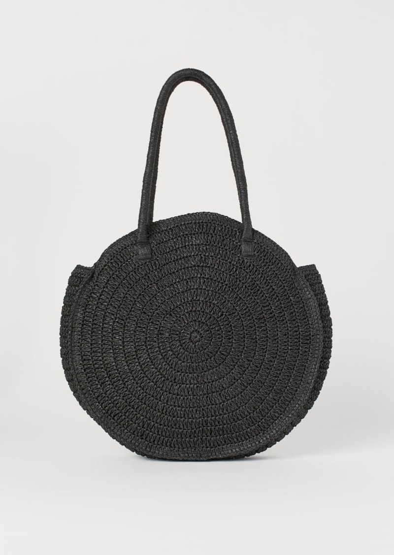 H&M H & M - Round Straw Bag - Black
