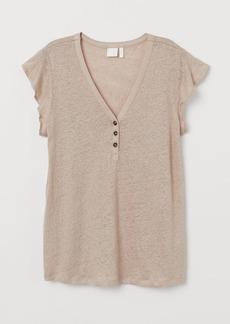 H&M H & M - Ruffle-sleeved Linen Top - Beige