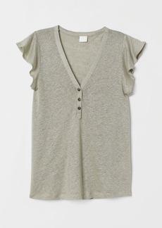 H&M H & M - Ruffle-sleeved Linen Top - Green