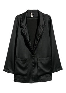 H&M H & M - Ruffle-trimmed Jacket - Black