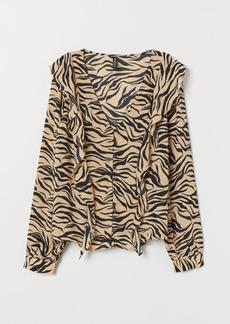 H&M H & M - Ruffled Blouse - Beige