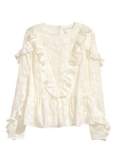 H&M H & M - Ruffled Blouse - White