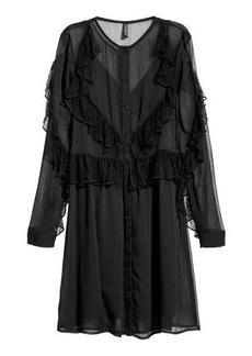 H&M H & M - Ruffled Chiffon Dress - Black