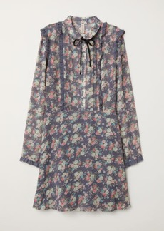 H&M H & M - Ruffled Chiffon Dress - Blue