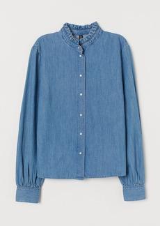 H&M H & M - Ruffled-Collar Denim Blouse - Blue