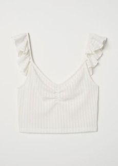 H&M H & M - Ruffled Pointelle Top - White