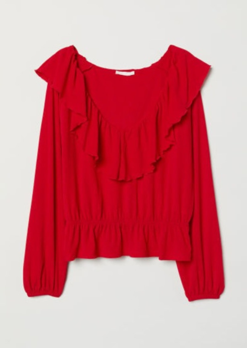 H&M H & M - Ruffled Top - Red