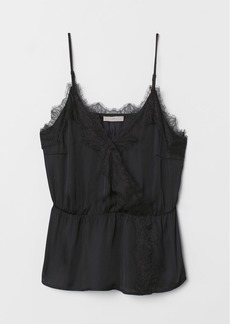 H&M H & M - Satin Camisole Top with Lace - Black