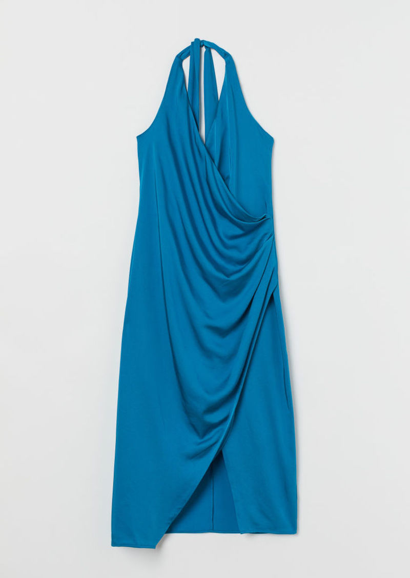 H&M H & M - Satin Halterneck Dress - Turquoise
