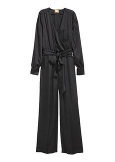 H&M H & M - Satin Jumpsuit - Black
