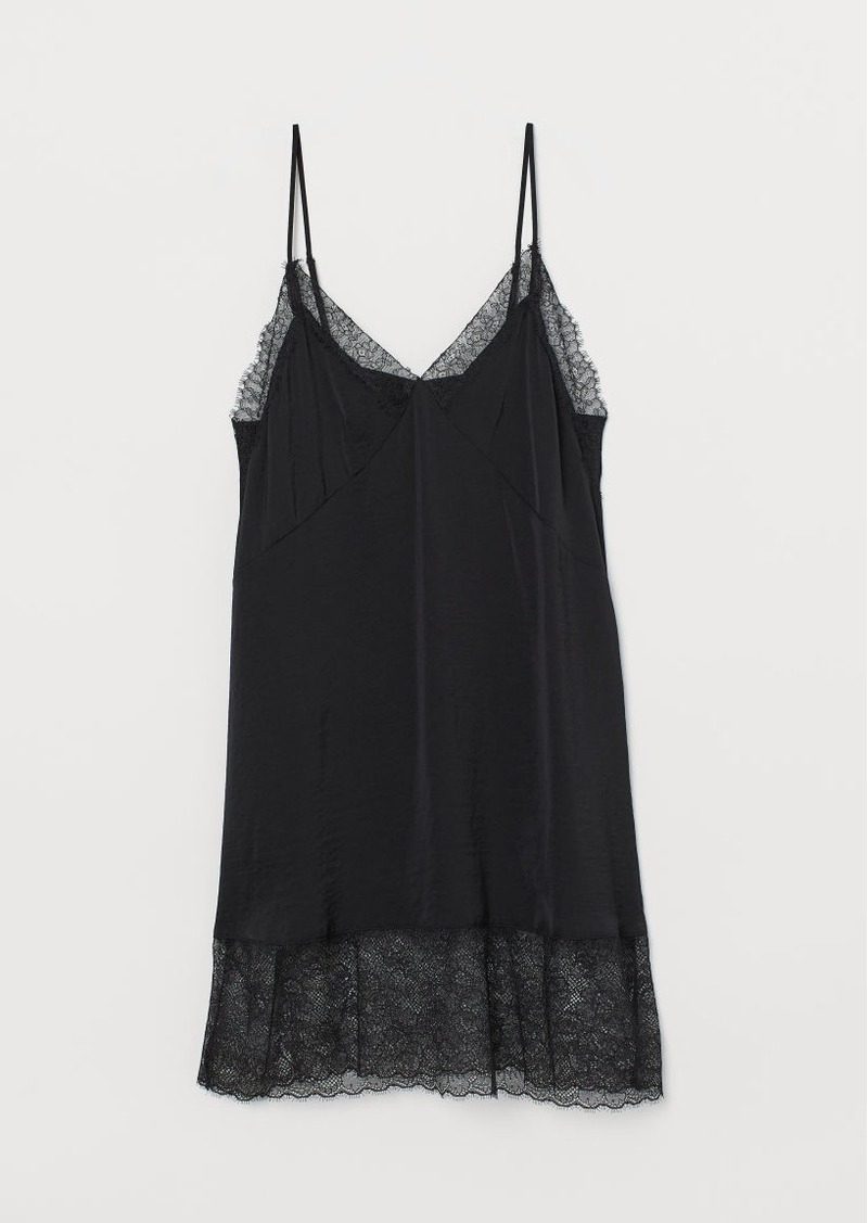H&M H & M - Satin Nightgown - Black