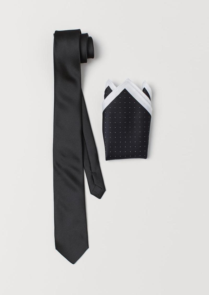 H&M H & M - Satin Tie and Handkerchief - Black