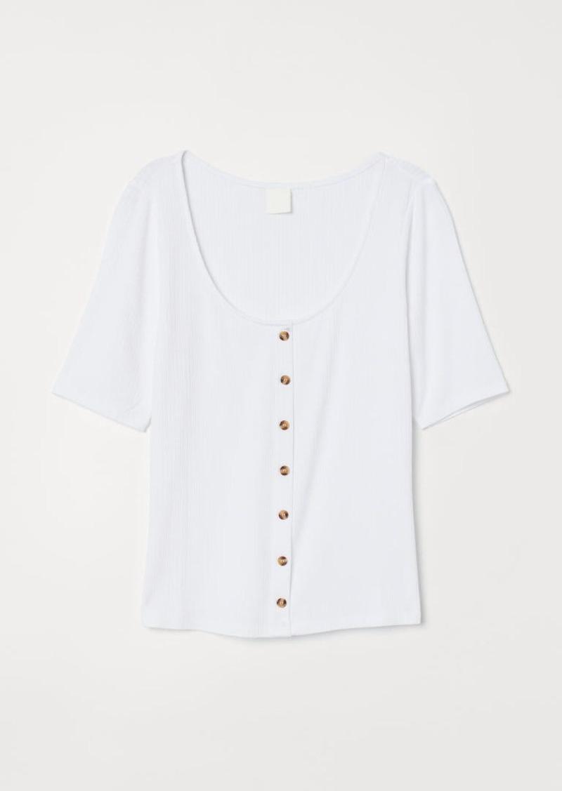 H&M H & M - Scoop-neck Top - White