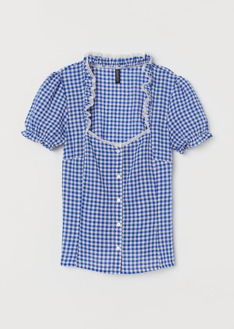 H&M H & M - Seersucker Blouse - Blue