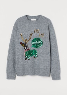 H&M H & M - Sequin-embellished Sweater - Gray