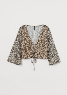 H&M H & M - Sequin-embroidered Blouse - Beige