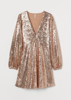 H&M H & M - Sequined Dress - Beige