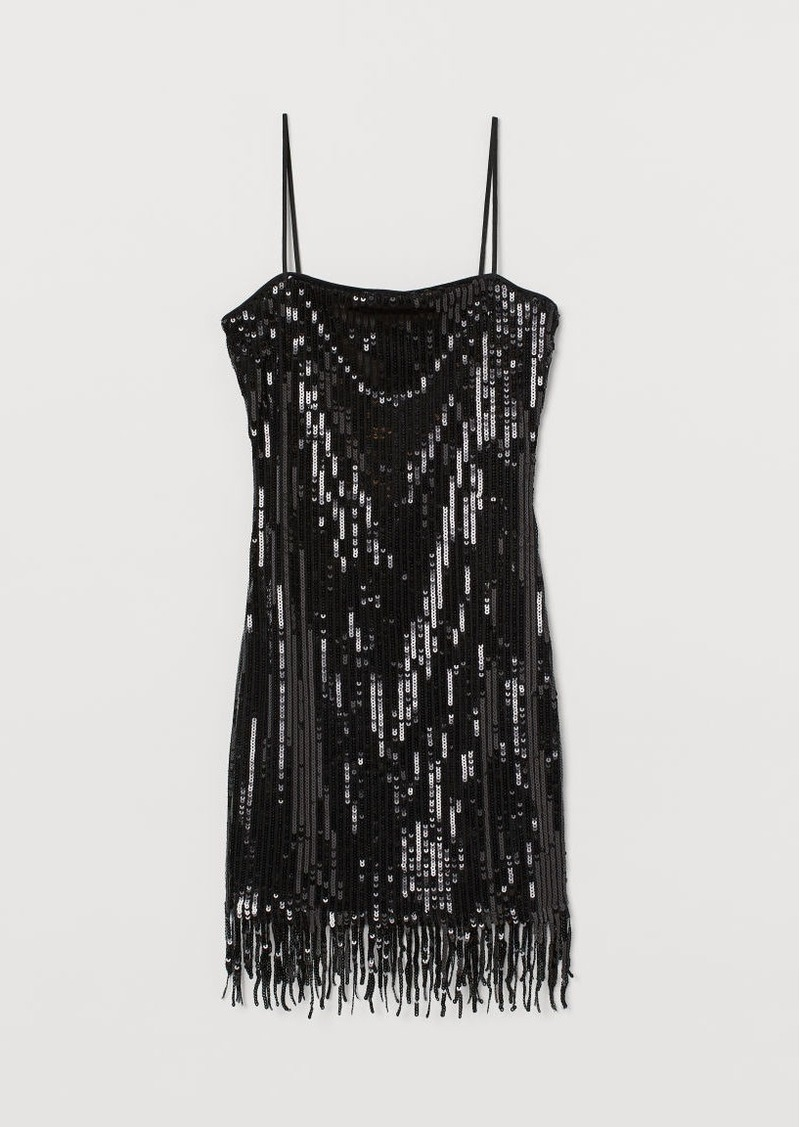 H&M H & M - Sequined Dress with Fringe - Black