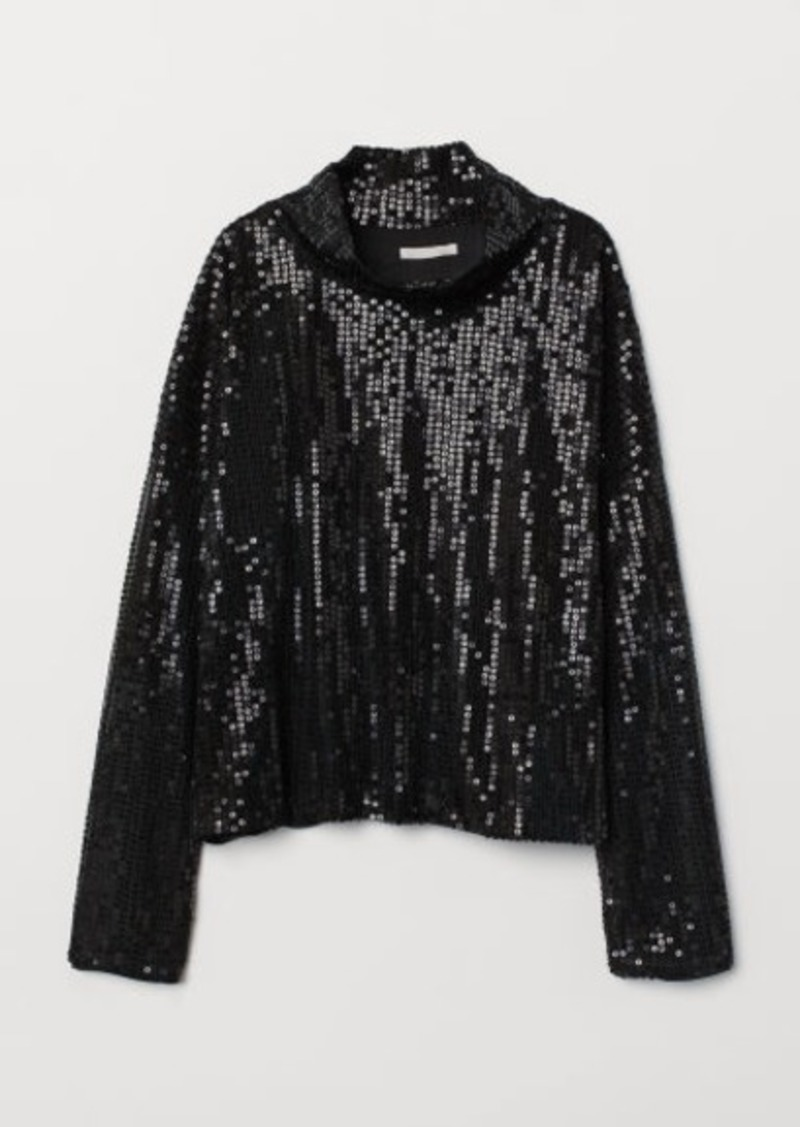 H&M H & M - Sequined Top - Black