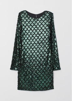 H&M H & M - Sequined Velour Dress - Green