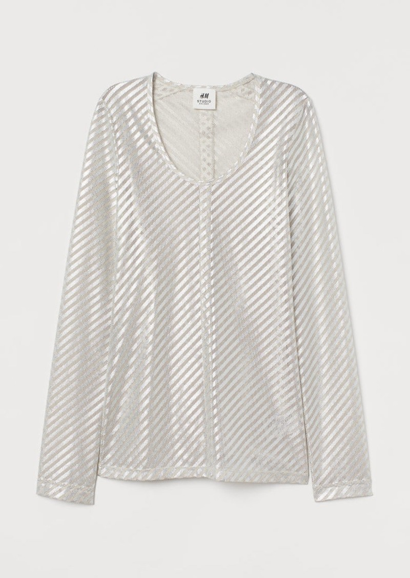H&M H & M - Shimmery Metallic Mesh Top - Beige
