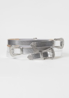 H&M H & M - Shimmery Metallic Waist Belt - Silver