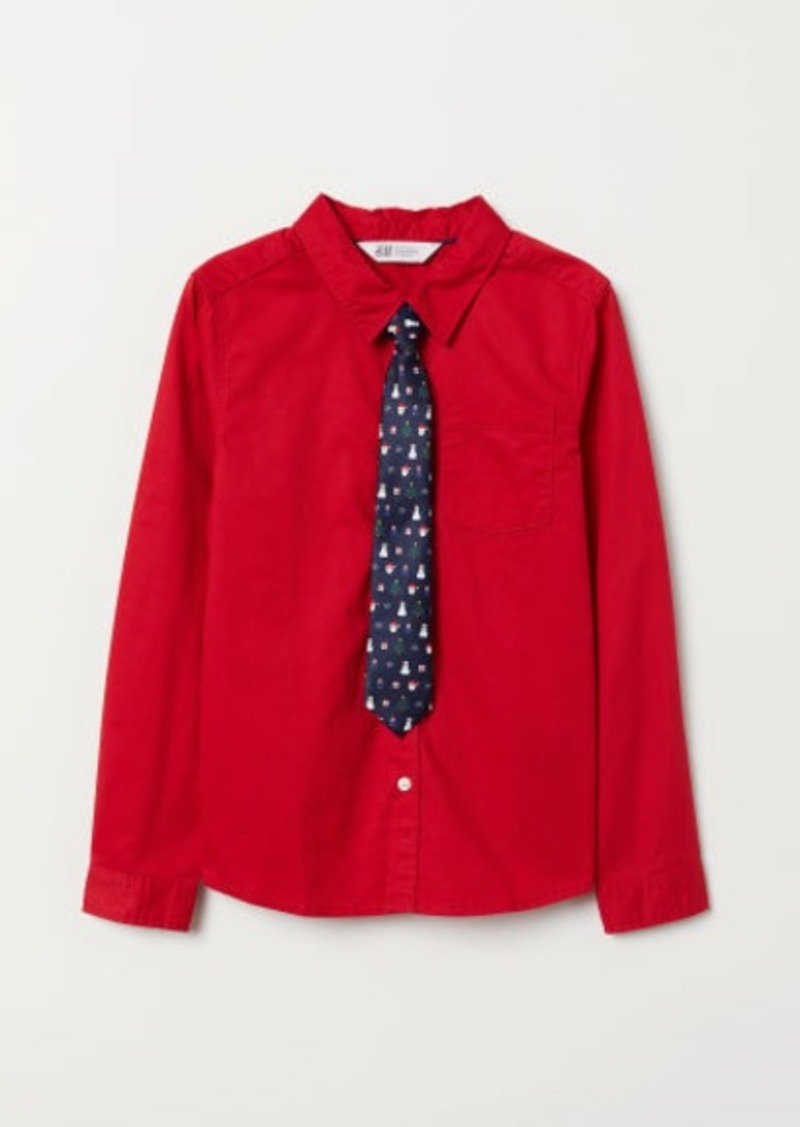 H&M H & M - Shirt with Tie/Bow Tie - Red