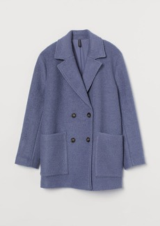H&M H & M - Short Bouclé Coat - Blue