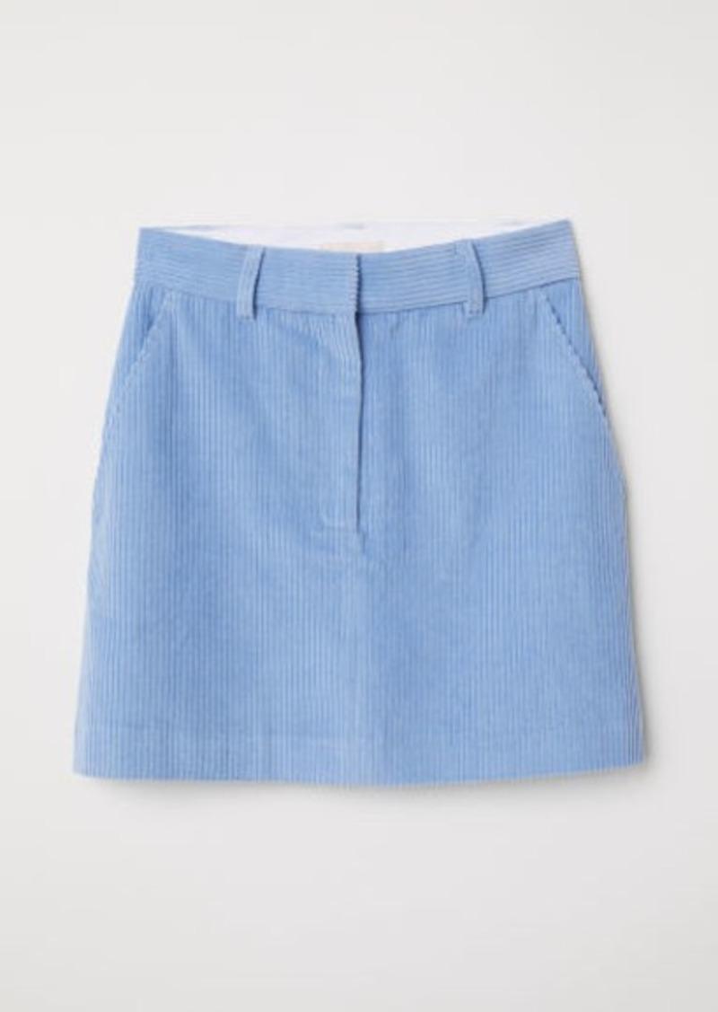 H&M H & M - Short Corduroy Skirt - Blue