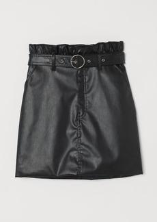 H&M H & M - Short Faux Leather Skirt - Black