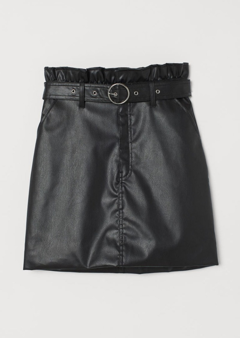 H&M H & M - Short Faux Leather Skirt - Black
